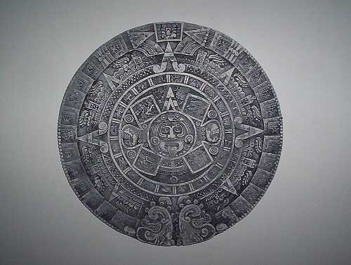 Ancient Aztec calendar replica