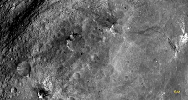 Vesta - Close-up View of Craters in South Equatorial Region
