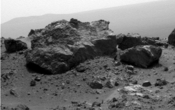 Mars Exploration Rover Opportunity - 'Ridout' Rock on Rim of Odyssey Crater