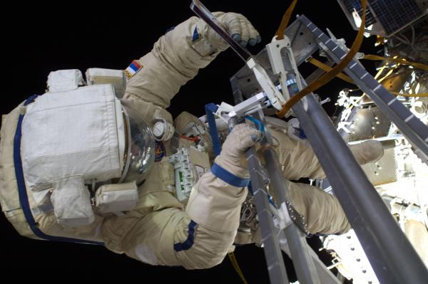 Cosmonauts Conduct Spacewalk