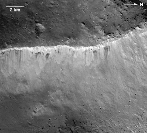 Vesta - Bright and Dark at West Rim of Marcia Crater
