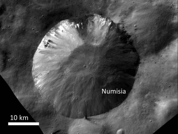Vesta - Bright Material at Numisia Crater