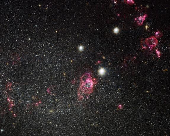 Hubble image of irregular galaxy Holmberg II