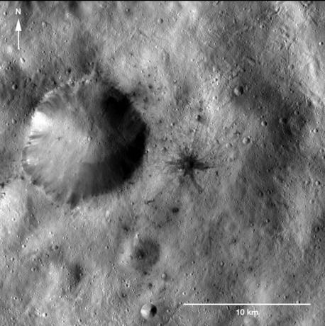 Vesta - Dark-Rayed Crater and Spots