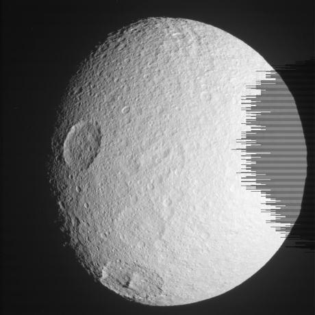 Cassini - Tethys Portrait (Raw Image)