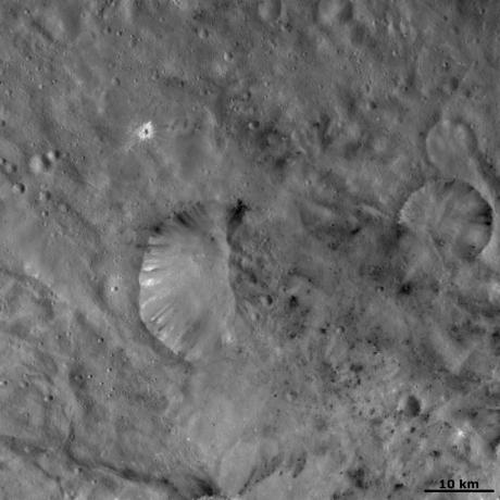 Vesta - Unusual bipolar crater