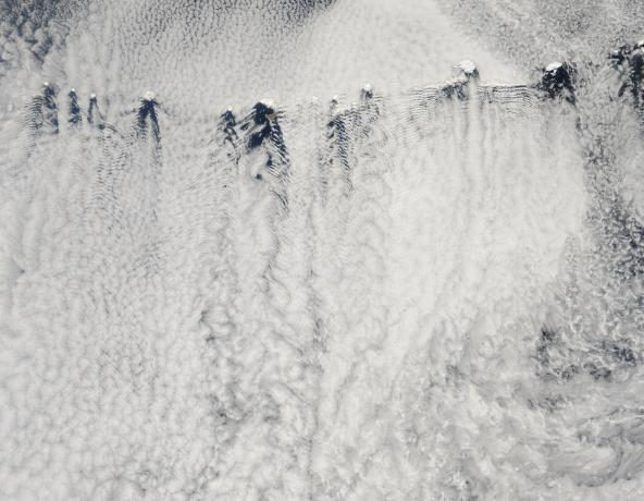 Ship-wave-shaped wave clouds and vortices induced by Aleutian Islands