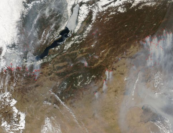 Fires and smoke near Lake Baikal, Russia