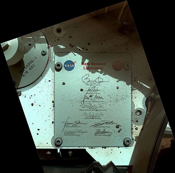 President's Signature On Board Curiosity