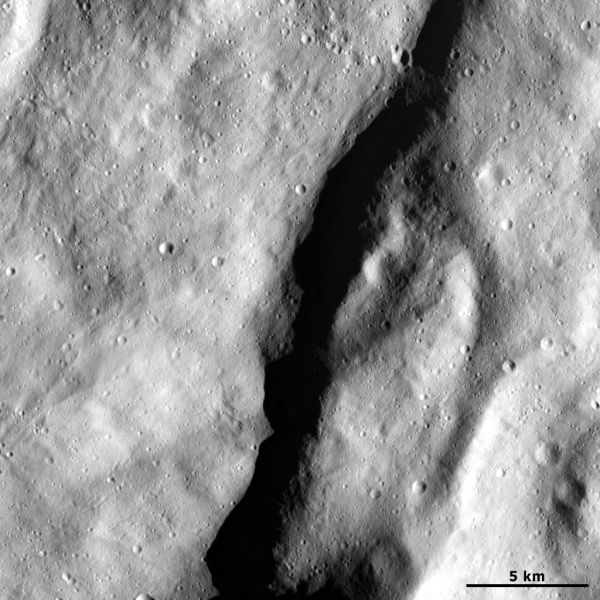 Escarpment on Vesta