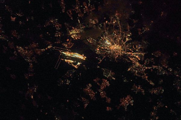Frankfurt by night, as seen from the ISS