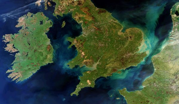 A rare cloud free view Of Ireland Great Britain And northern France