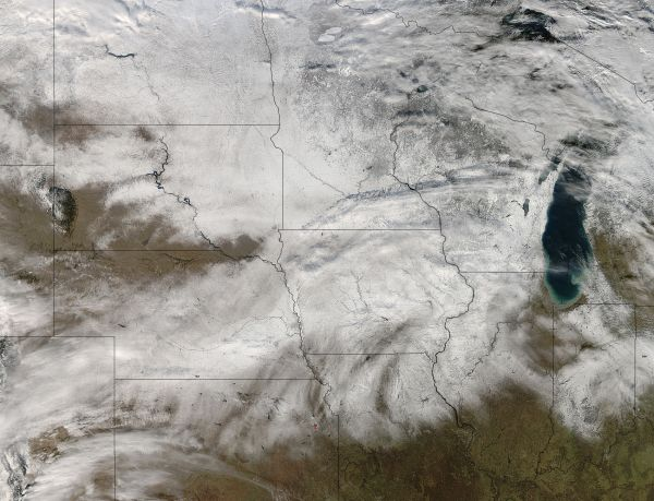 Snow across central United States