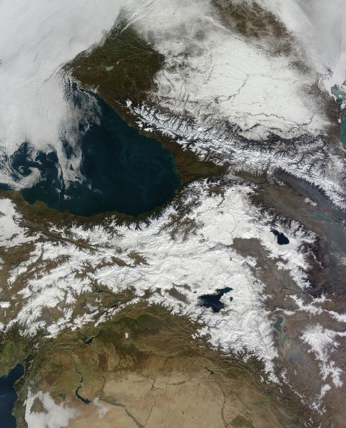 Snow in the Caucasus Mountains