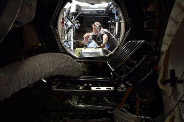 Cosmonauts Monitor Progress Docking