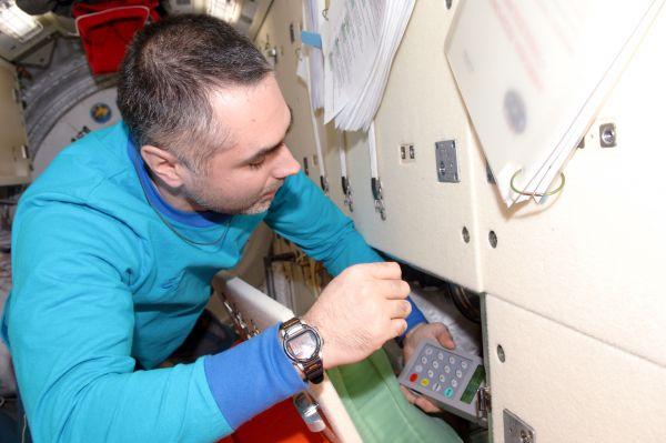 Cosmonaut Evgeny Tarelkin in Rassvet Module