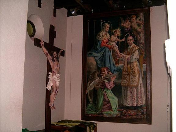 Wide view of same crucifix and huge oil painting in chapel of the Dominguez Seminary/Compton, CA