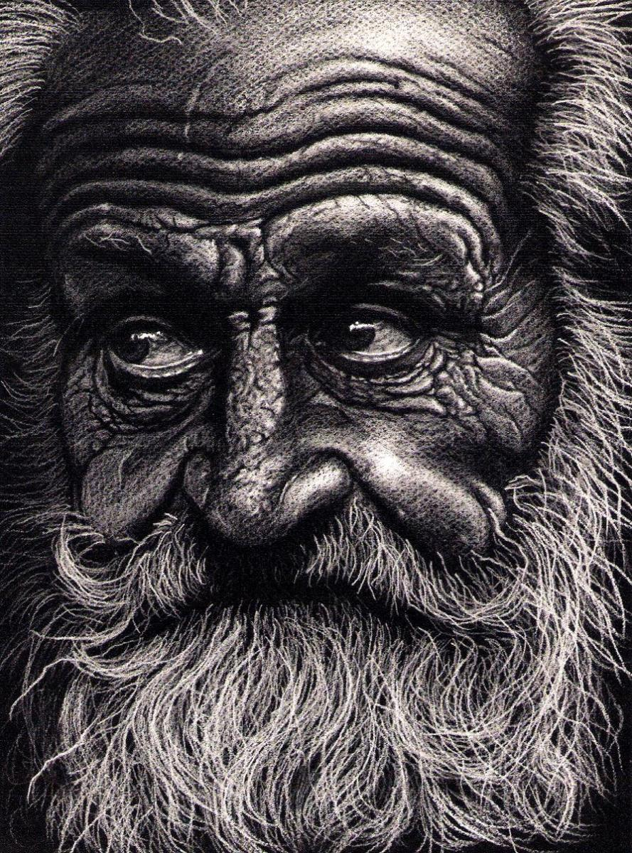 Old man drawning white pencil on black paper unexplained