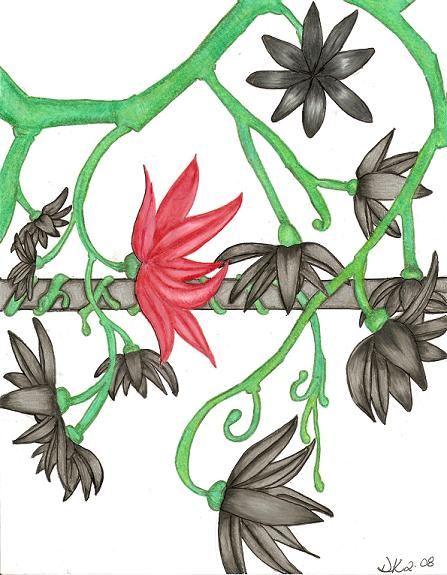 Silver Vines/ Abstract Lotus