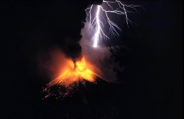 Volcano and lightning