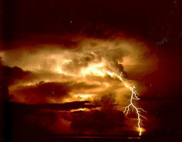 Lightning filled sky