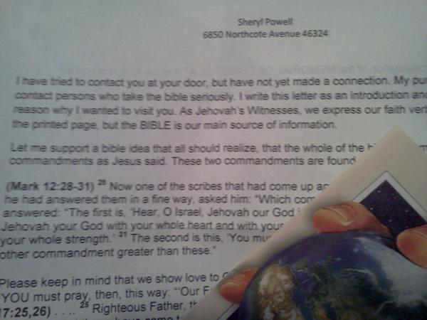 Mail from the jehovahs