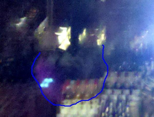 Close up of bosses ghost face who shot and killed himself