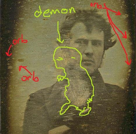 1st ever portrait photo has orbs and demon captured on film!