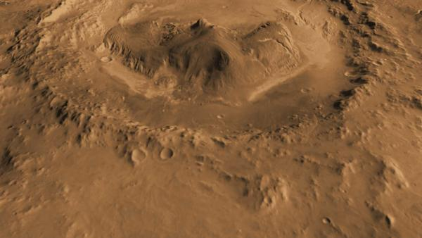 Mars - Oblique view of Gale Crater from the North