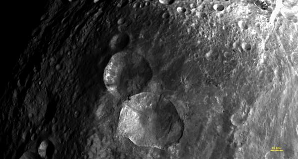 Vesta - Close-up View of 'Snowman' Craters