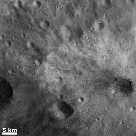Vesta - Large blocks of rocky material in a young ray crater