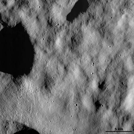 Vesta - Dust-covered surface with fresh small craters