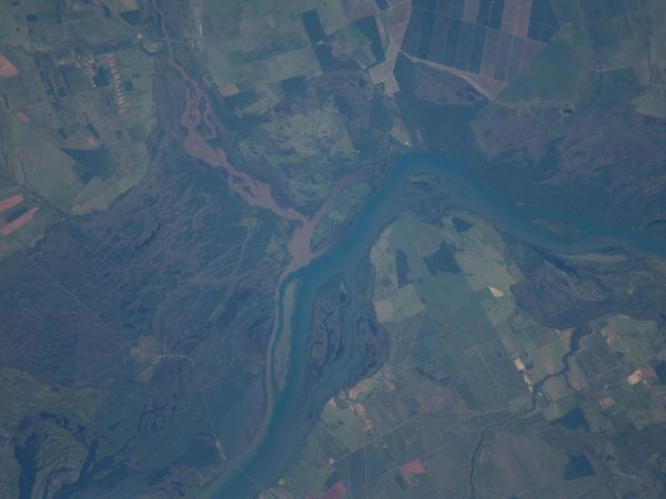 International Space Station - The Parana River floodplain