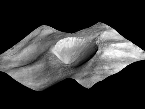 Vesta - Perspective View of Layered Young Crater