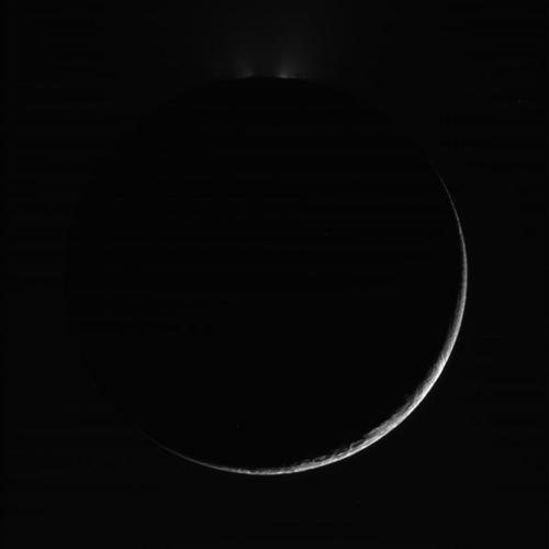 Cassini - Enceladus Crescent (Raw image)