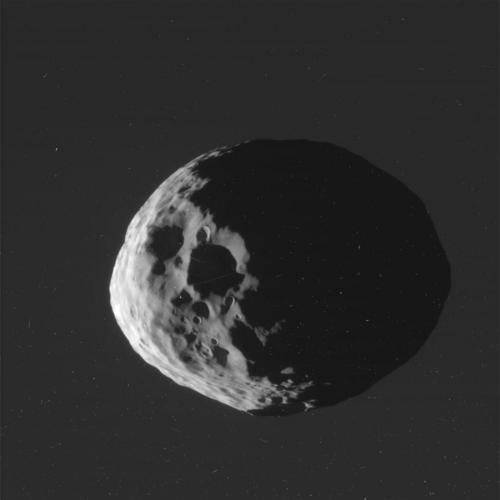Cassini - Portrait of Janus (Raw image)