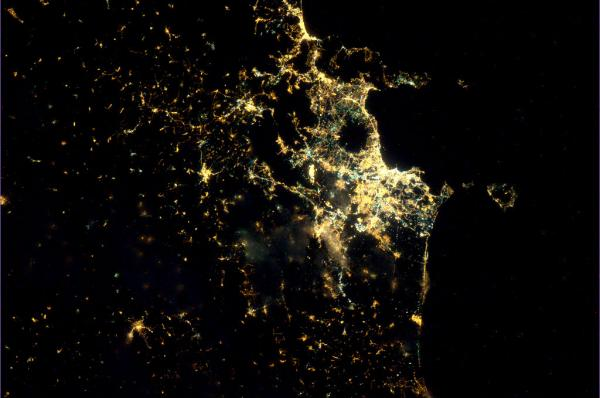 Tracking cities at night from the Space Station - Naples