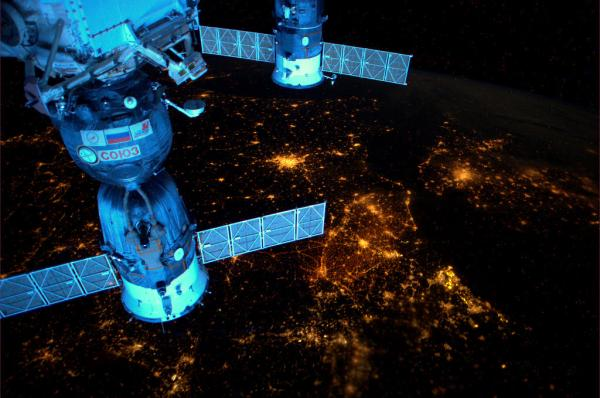 International Space Station - Over Europe at night