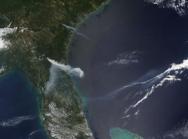 Smoke from the County Line Fire, northern Florida