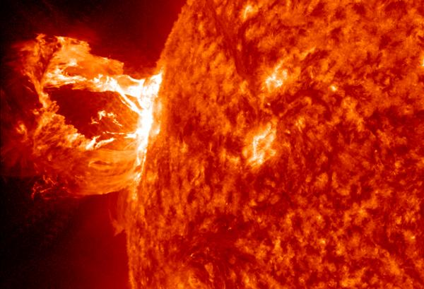 Giant Prominence Erupts