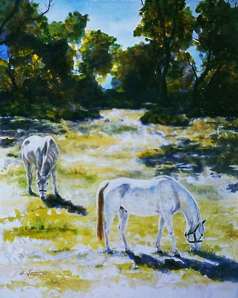 TWO  SUNLIT  HORSES