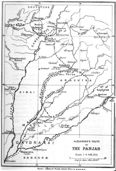 Alexander's route in the Panjab