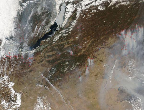 Fires and smoke near Lake Baikal, Russia
