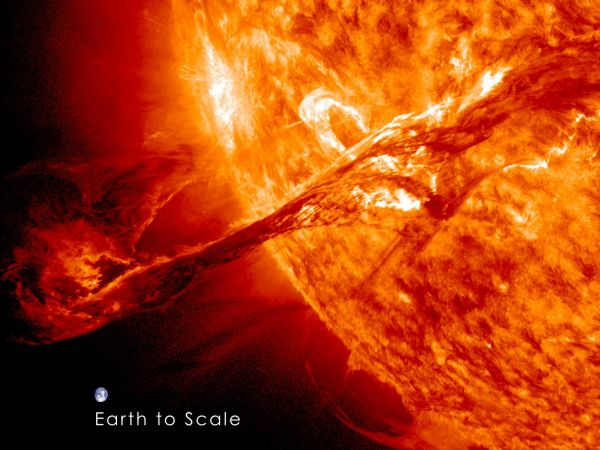 Massive Filament Eruption, with Superimposed Earth for Scale