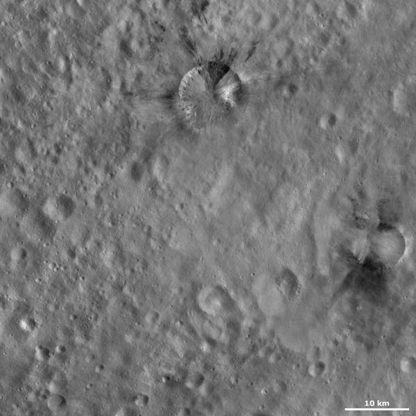 Vesta - Rubria and Occia craters
