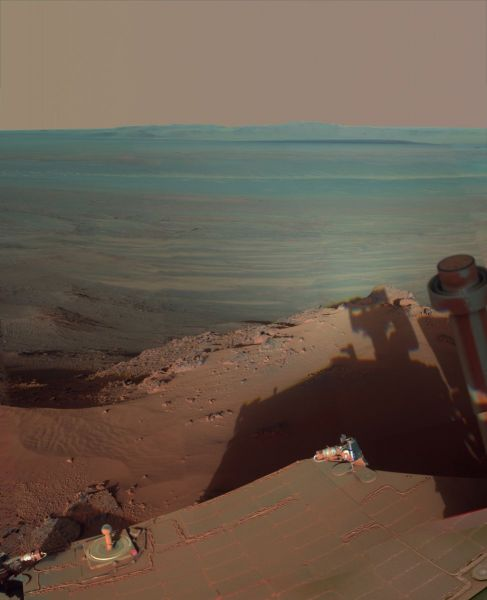 Mars Exploration Rover Opportunity - Late Afternoon Shadows at Endeavour Crater on Mars