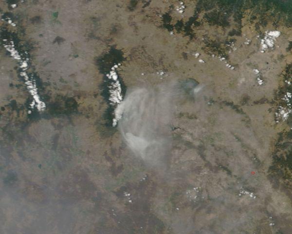Ash plume from Popocatepetl volcano, Mexico