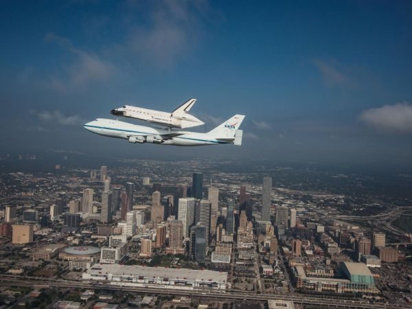 Space Shuttle Endeavour Over Houston, Texas