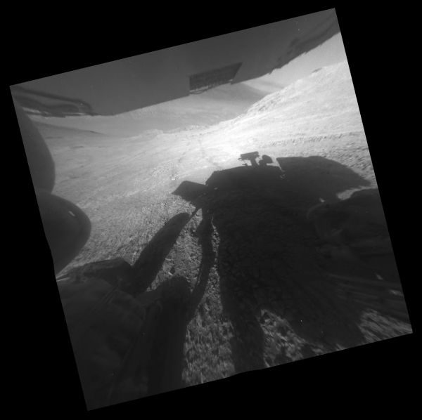Opportunity's Shadow And Tracks On Martian Slope
