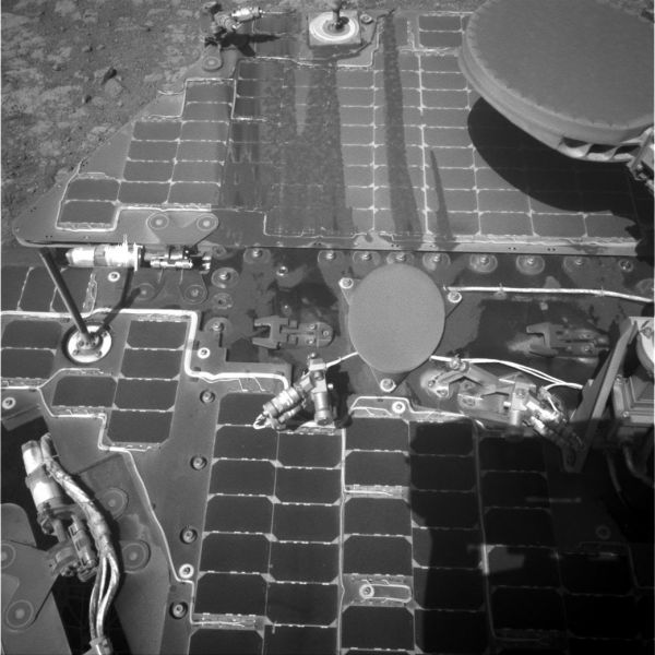 Streaks On Opportunity Solar Panel After Uphill Drive